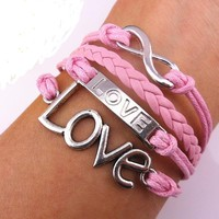 Vintage Silver Infinite Bracelet Love Pink Leather Rope Infinity Knit Punk Style:Amazon:Jewelry