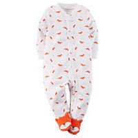 Carter's Boys White/Red Fox Printed Zip Up Terry Footie with Foot Detail