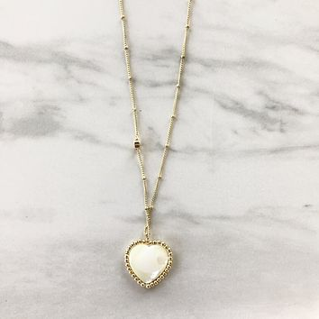 Open Hearted Pearl and Gold Necklace