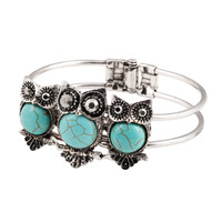 Cute Owl Turquoise Bangle Vintage Tibetan Silver Bracelets Bangles For Women Natural Stone Turquoise Bracelets