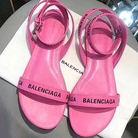Balenciaga Women Fashion Ankle Strap Sandals Flats Shoes