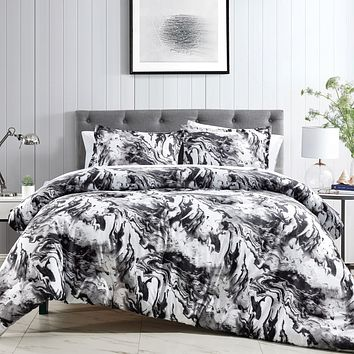 Modern Marble Black and White Penthouse Edition Comforter - 3 Piece Set