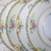 Floral China Dinner Plates. Black Knight China Leonora Pattern. Shabby Chic Dishes, Dinnerware, Alice in Wonderland Tea Party, Bridal Shower