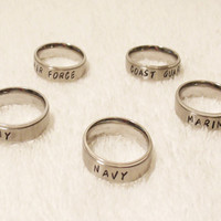 Stainless Steel Army Ring, Stainless Steel Navy Ring, Stainless Steel Military Ring, Hand Stamped Ring (HSST0001)
