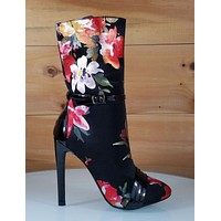 "CR Black Red Floral Almond Toe Ankle Boot Full Side Zipper 4"" High Heels"