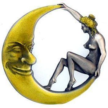 Sports Accessories - Girl on the Moon Enameled Belt Buckle