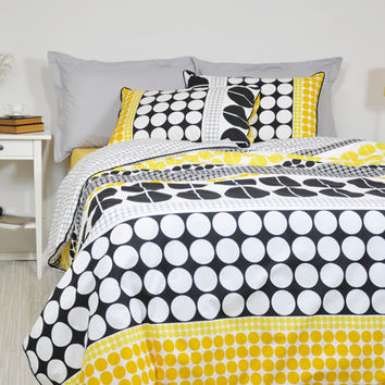 Geometric Bedding Set in Full Queen King Cal King, Black Yellow Grey Big Polka Dot Print Bedding, 6 pcs, Duvet Cover Pillowcases Shams Sheet