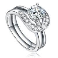 Stainless Steel Round Cubic Zirconia Halo Bridal Ring Set