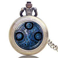 Doctor Who Theme Quartz Pendant Pocket Watch With Chain Necklace