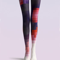 """Women's Fashion """"The Color Mosaic"""" Printed Pattern Opaque High Waist Tights Pantyhose VK0141 by Fashnin.com"""