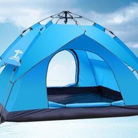 Double-deck outdoor goods spring automatic tent 3-4-person camping tent