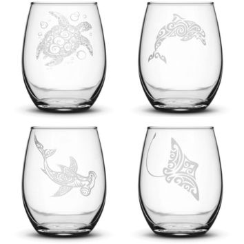 Premium Wine Glasses, Tribal Turtle, Dolphin, Shark, and Stingray (Set of 4)