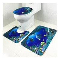 Toilet Seat Carpet 3pcs Set Coral Fleece Ground Mat