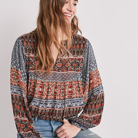 Border Print Peasant Top | Lucky Brand