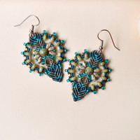 Teal earthy micro macrame earrings, bohemian earrings, boho chic, rustic jewelry, beaded earrings