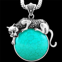 Vintage Inspired Necklace, Pretty Pendant, Tibetan Alloy Antique Silver Plated, Exotic Leopard