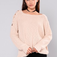 Kaliah Lace Up Sweater - Oatmeal