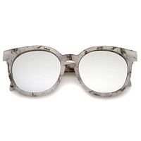 Oversize Marble Print Mirror Lens Round Sunglasses A466