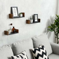 Wooden Floating Shelf with Metal Mesh Design, Set of 3,Brown and Black By Casagear Home