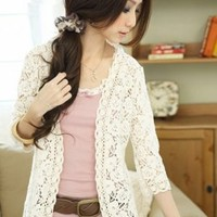 Mori Crocheted Floral Cardigan