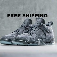 "【FREE SHIPPING】KAWS x AIR JORDAN 4 (COOL GREY ""KAWS"") BASKETBALL SHOES STYLE CODE: 930155-003"
