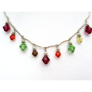 Multi Color Crystal Bead Festoon Necklace 925