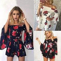 2018 Fashion Sexy Printed Jumpsuit