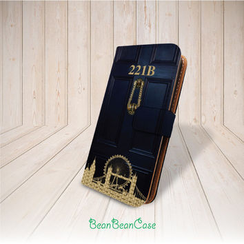 221b sherlock holmes baker flip pu leather case for iPhone 6 6 plus, iPhone 5 5S 5C 4 4S, moto X, galaxy S5 S4 S3 Note 3 Note 4 (K30)