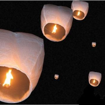 50 Small Size Fire Sky Chinese Paper Kongming White Lanterns Birthday Wedding Party