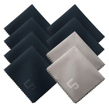 Premium Microfiber Cleaning Cloths, LP 8-Pack Including Blue & Grey Cloths for Camera White Balance for Lens, Eyeglass, TV, Tablet, Smartphone, Computer Screen, Mirror, Jewelry, Glassware & More