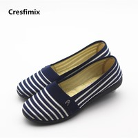 Cresfimix zapatos de mujer women casual soft loafers lady cute ribbon striped flat shoes female spring and summer shoes