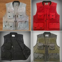 summer mesh Pography vest solid multi-pocket outdoor fishing hiking vests waistcoat 1 piece WM0013 bags