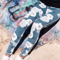 Highwaist Poppy Print Full Legging, Blue