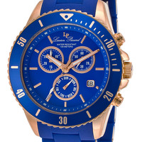 Lucien Piccard 93609-RG-33 Watches,Men's Mocassino Chronograph Blue Dial Stainless Steel and Blue Polyurethane, Men's Lucien Piccard Quartz Watches