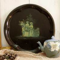 Vintage Victorian ladies decoupage tray big collage round black metal serving Shabby Chic tray