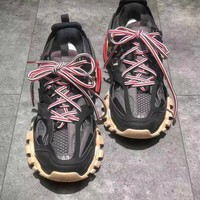 Balenciaga Track Trainers In Black Red  Mesh And Nylon Sports Sneakers Shoes