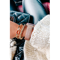 Make Time For You Glitter Apple Watch Band (Rose Gold)