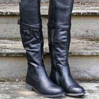 Love Lost Black Riding Boot With Cross Straps & Buckle Detail