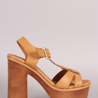 Qupid T-Strap Chunky Faux Wooden Platform Heel