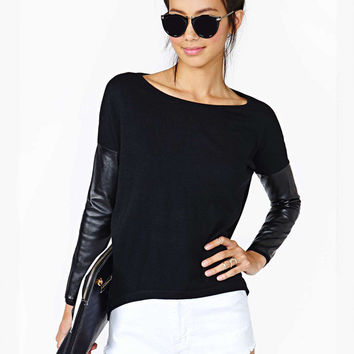 Black PU Leather Accent Long Sleeve T-Shirt