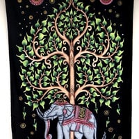 Twin Star Tapestries, Tree of life Elephant Mandala Tapestry Wall Hanging, Indian Bedspread Bohemian Room Décor, Dorm Bedding Tapestry Art