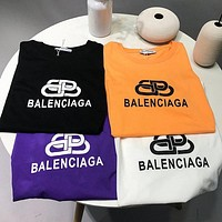 """""""Balenciaga"""" Unisex Loose All-match Personality Lock Letter Print Couple Short Sleeve Round Neck T-shirt Top Tee"""