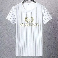 Balenciaga 2019 new striped wheat ear letter embroidered short-sleeved T-shirt white