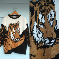 1980s. oversized metallic knit tiger pull over sweater. xs-xl