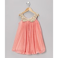 Peach Pleated Chiffon Dress - Toddlers & Girls