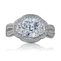 2.5 CT. Intensely Radiant Cushion Diamond Veneer Cubic Zirconia Vintage Halo Split Shank Engagement/Wedding Three Stone Sterling Silver Ring. 635R4004