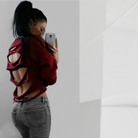Spring Autumn Women Fashion Letters Printed Hoddies Street Style Backless Hedging Hole Blouse Tops Jumper PulloversOutwear Nov16