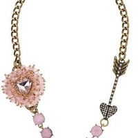 Betsey Johnson Beaded Heart and Arrow Necklace, 18''+3'' Extender