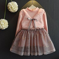 Little Girl's Pink and Taupe Dress Long Sleeves