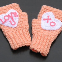 Conversation Hearts Candy Fingerless Mitts, Texting Gloves, Wristwarmers, Great for Valentine's Day or Sweetest Day, Ready to Ship